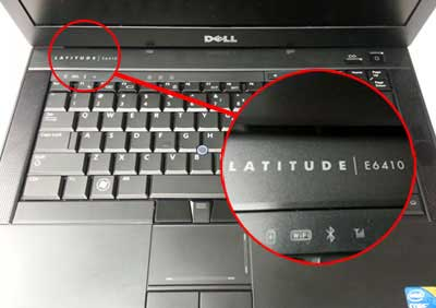 find model of Dell laptop Near power button